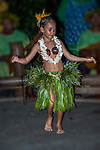 Young Polynesian dancing girl. Raiatea, French Polynesia