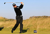 Lee Westwood (ENG) on the 11th tee during Round 2 of the 2015 Alfred Dunhill Links Championship at Kingsbarns in Scotland on 2/10/15.<br /> Picture: Thos Caffrey | Golffile