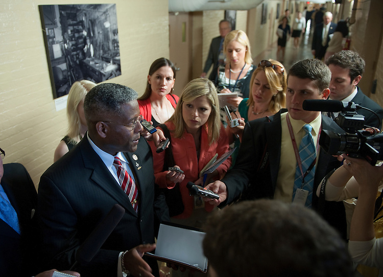 UNITED STATES - JULY 12: Allen West, R-Fla., talks with the media following a closed conference meeting of the GOP leadership in the U.S. Capitol. (Photo By Douglas Graham/Roll Call)