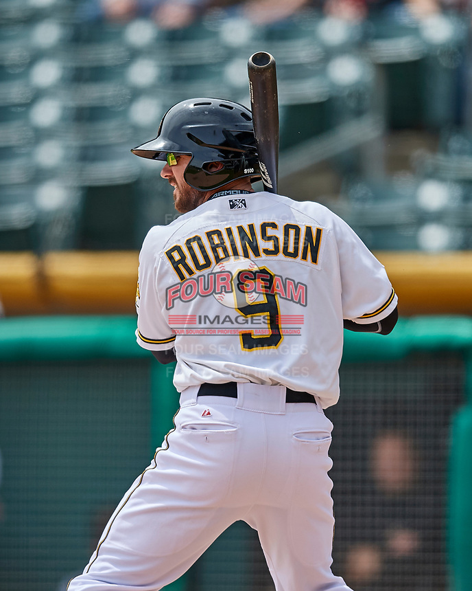 Shane Robinson (9) of the Salt Lake Bees at bat against the El Paso Chihuahuas in Pacific Coast League action at Smith's Ballpark on April 30, 2017 in Salt Lake City, Utah. El Paso defeated Salt Lake 3-0. This was Game 1 of a double-header. (Stephen Smith/Four Seam Images)