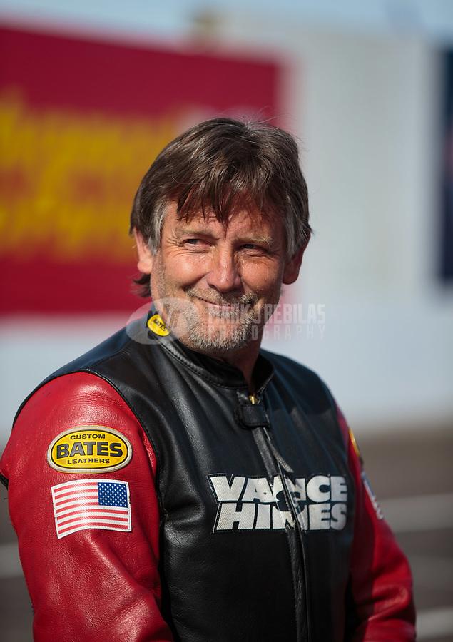 Feb 24, 2019; Chandler, AZ, USA; NHRA top fuel Harley Davidson nitro motorcycle rider Doug Vancil during the Arizona Nationals at Wild Horse Pass Motorsports Park. Mandatory Credit: Mark J. Rebilas-USA TODAY Sports