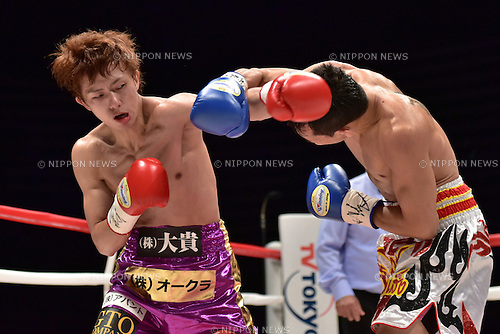 (L-R) Ryoichi Taguchi (JPN), Kwanthai Sithmorseng (THA),<br /> MAY 6, 2015 - Boxing :<br /> Ryoichi Taguchi of Japan in action against Kwanthai Sithmorseng of Thailand during the first round of the WBA light flyweight title bout at Ota-City General Gymnasium in Tokyo, Japan. (Photo by Hiroaki Yamaguchi/AFLO)