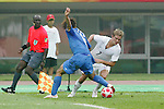07 August 2008: Stuart Holden (USA) (7) looks to dribble past Takuya Honda (JPN) (16).  The men's Olympic team of the United States defeated the men's Olympic soccer team of Japan 1-0 at Tianjin Olympic Center Stadium in Tianjin, China in a Group B round-robin match in the Men's Olympic Football competition.