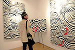 "MIAMI, FL - DECEMBER 05: General view of Blake Emory debuts his provoking abstract collection of works ""Zebra Love"" at this year's Spectrum Miami exhibit during Art Basel Miami Beach on Friday December 5, 2014 in Miami, Florida. (Photo by Johnny Louis/jlnphotography.com)"