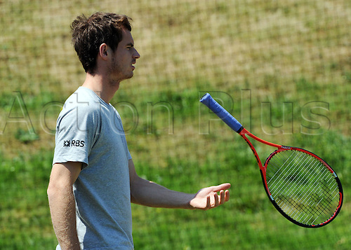 Andy Murray during a warm-up session for Wimbledon 2010, photographed on June 28 2010.June  Wimbledon international tennis tournament held at the All England Lawn Tennis Club, London, England.