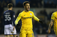 Callum Robinson celebrates scoring Preston's first goal during Millwall vs Preston North End, Sky Bet EFL Championship Football at The Den on 13th January 2018