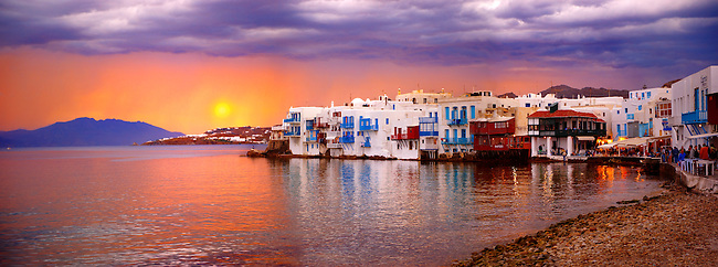 Sunset over The Little Venice (Venetia) neibourhood of the Kastro District of Chora, Mykonos, Cyclades Islands, Greece