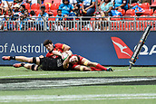 2nd February 2019, Spotless Stadium, Sydney, Australia; HSBC Sydney Rugby Sevens; New Zealand versus Spain; Sam Dickson of New Zealand looks for the try line as Ignacio Rodriguez-Guerra of Spain treis in vain to stop him
