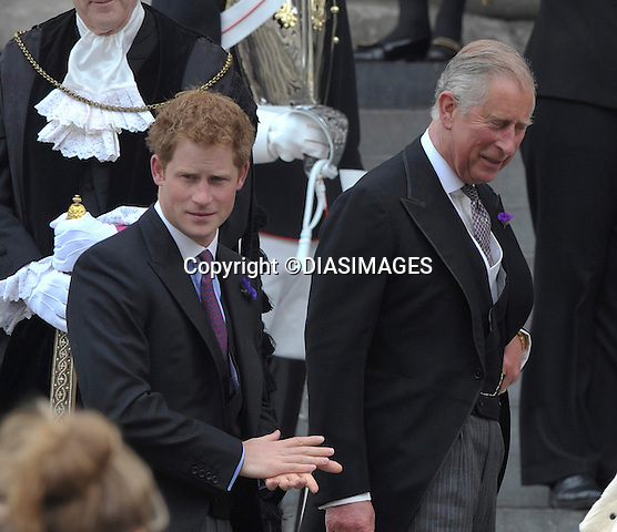 """PRINCE HARRY AND PRINCE CHARLES.QUEEN CELEBRATES DIAMOND JUBILEE.The Queen and 50 members of the Royal Family attended a church service to celebrate her Diamond Jubilee at St. Paul's Cathedral, London_05/06/2012.Mandatory Credit Photo: ©Francis Dias/DIASIMAGES..**ALL FEES PAYABLE TO: """"NEWSPIX INTERNATIONAL""""**..IMMEDIATE CONFIRMATION OF USAGE REQUIRED:.Newspix International, 31 Chinnery Hill, Bishop's Stortford, ENGLAND CM23 3PS.Tel:+441279 324672  ; Fax: +441279656877.Mobile:  07775681153.e-mail: info@newspixinternational.co.uk"""