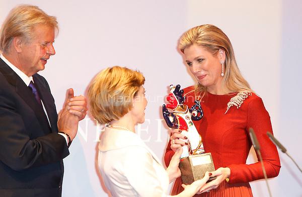 """Queen Maxima of the Netherlands, Daniela Schad, Karlheinz Koegel at the German Media Award 2013 """"Deutscher Medienpreis"""" held in Kongresshaus in Baden-Baden. 21.03.2014..<br /> Photo: Hofer/insight media/insight media /MediaPunch ***FOR USA ONLY***"""