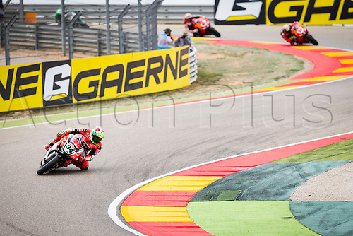 03.04.2016. Motorland, Aragon, Spain, World Championship Motul FIM of Superbikes. Davide Giuliano #34, Ducati 1199 Panigale R rider of Superbike in action during   the Race  in the World Championship Motul FIM of Superbikes from the Circuito de Motorland.