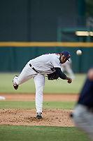 Jacksonville Jumbo Shrimp starting pitcher Jorge Guzman (26) during a Southern League game against the Mobile BayBears on May 28, 2019 at Baseball Grounds of Jacksonville in Jacksonville, Florida.  Mobile defeated Jacksonville 2-1.  (Mike Janes/Four Seam Images)