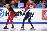 "SHORT TRACK: MOSCOW: Speed Skating Centre ""Krylatskoe"", 15-03-2015, ISU World Short Track Speed Skating Championships 2015, Quarterfinals 1000m Men, Jingnan SHI (#114 | CHN), Semen Elistratov (#152 | RUS), ©photo Martin de Jong"
