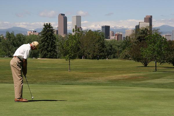 Man playing golf, Denver, Colorado