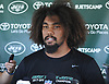 Leonard Williams #92 of the New York Jets speaks with the media after the first team practice of training camp at the Atlantic Health Jets Training Center in Florham Park, NJ on Saturday, July 29, 2017.
