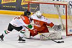 03.01.2020, BLZ Arena, Füssen / Fuessen, GER, IIHF Ice Hockey U18 Women's World Championship DIV I Group A, <br /> Daenemark (DEN) vs Ungarn (HUN), <br /> im Bild Shot-Out, Zsofia Pazmandi (HUN, #7) scheitert an Emma-Sofie Nordstrom (DEN, #25)<br /> <br /> Foto © nordphoto / Hafner