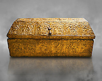 Gothic embossed Brass on wood box, circa 1370-1450, possibly made in Barcelona, Catalunya. National Museum of Catalan Art, Barcelona, Spain, inv no: MNAC 5361.