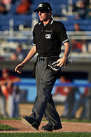 Umpire Tyler Jones during the second game of a doubleheader between the Mahoning Valley Scrappers and Batavia Muckdogs on July 2, 2015 at Dwyer Stadium in Batavia, New York.  Mahoning Valley defeated Batavia 3-0.  (Mike Janes/Four Seam Images)