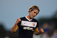 Sky Blue FC midfielder Sophie Schmidt (16) celebrates the team's only goal. Sky Blue FC defeated the Washington Spirit 1-0 during a National Women's Soccer League (NWSL) match at Yurcak Field in Piscataway, NJ, on August 3, 2013.