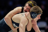STATE COLLEGE, PA - FEBRUARY 8: Thomas Gilman of the Iowa Hawkeyes and Jordan Conaway of the Penn State Nittany Lions during their match on February 8, 2015 at the Bryce Jordan Center on the campus of Penn State University in State College, Pennsylvania. The Hawkeyes won 18-12. (Photo by Hunter Martin/Getty Images) *** Local Caption *** Thomas Gilman;Jordan Conaway