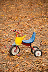 Toddlers tricycle on playground.