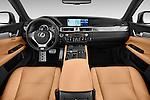 Stock photo of straight dashboard view of a 2014 Lexus GS 300H Hybrid F Sport Line 4 Door Sedan 2WD Dashboard