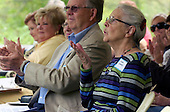 Thankful: (name omitted) blows a kiss to friends and family following remarks they made during a dedication cermony for (name omitted) and her late sister at the West Bloomfield Nature Preserve Saturday.