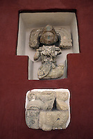 Maya glyph and personage sculpture,  Copan Sculpture Museum, Copan Honduras