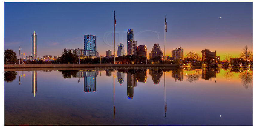 From the Long Center in the morning, the Austin Skyline is reflected in the pool. This Austin Panorama was taken in the early morning hours as downtown awakened.