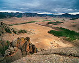 MONGOLIA, Gorkhi-Terelj National Park, vast landscape and ger camps with rock formations