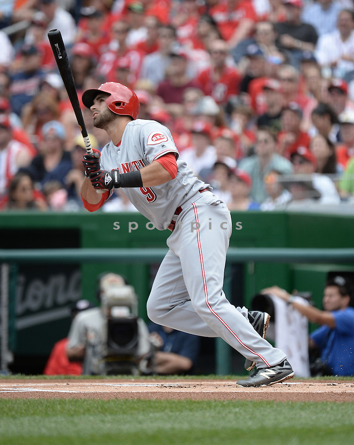 Cincinnati Reds Jose Peraza (9) during a game against the Washington Nationals on July 3, 2016 at Nationals Park in Washington DC. The Nationals beat the Reds 12-1.