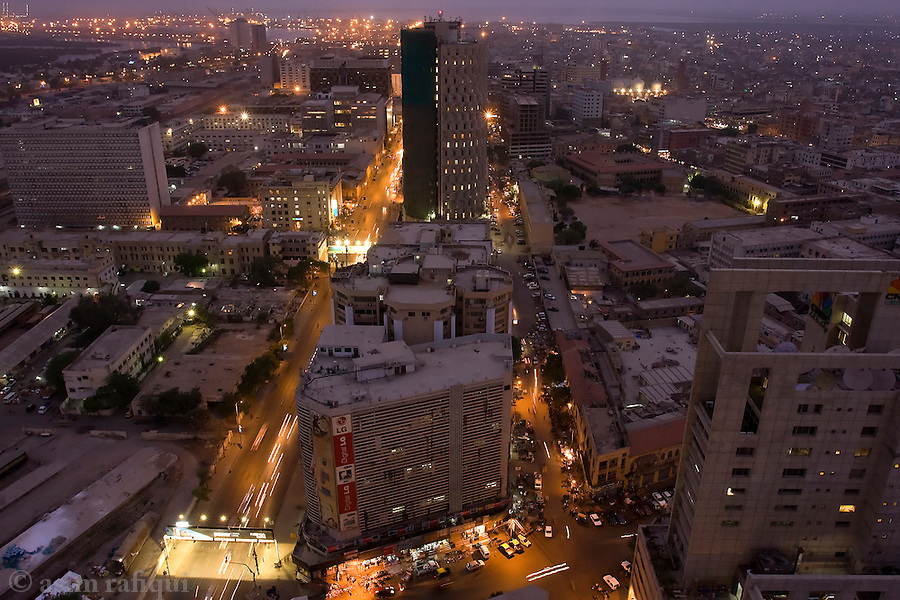 A view of the business district in downtown Karachi.  Once a small but important port city under British rule, Karachi today is considered one of Asia's fastest growing megapolis', its growth being fueled by a new middle class that came about because of the rise of the IT and telecommunications industries in the country.