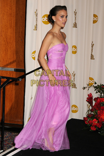 NATALIE PORTMAN.81st Annual Academy Awards Press Room held at the Kodak Theatre, Hollywood, California, USA..February 22nd, 2009.oscars full length long purple strapless dress pink sheer.CAP/ADM/BP.©Byron Purvis/AdMedia/Capital Pictures.