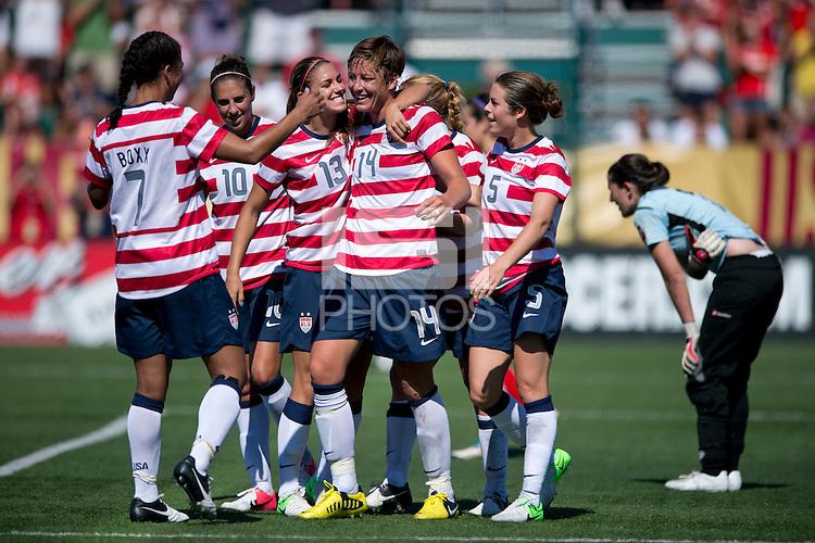 Shannon Boxx, Carli Lloyd, Abby Wambach, Alex Morgan, Kelley O'Hara, Rachel Buehler.  The USWNT defeated Costa Rica, 8-0, during a friendly match at Sahlen's Stadium in Rochester, NY.