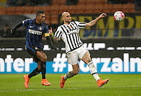 Calcio, Coppa Italia: semifinale di ritorno Inter vs Juventus. Milano, stadio San Siro, 2 marzo 2016. <br /> Juventus&rsquo;s Simone Zaza, right, is chased by FC Inter&rsquo;s Juan Jesus during the Italian Cup second leg semifinal football match between Inter and Juventus at Milan's San Siro stadium, 2 March 2016.<br /> UPDATE IMAGES PRESS/Isabella Bonotto