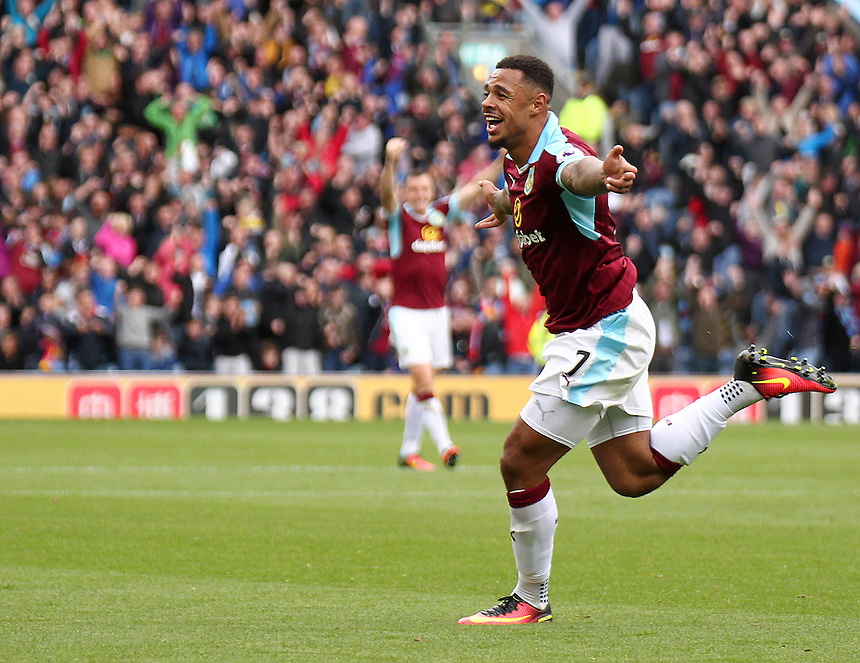 Burnley's Andre Gray celebrates scoring his sides second goal <br /> <br /> Photographer Rich Linley/CameraSport<br /> <br /> Football - The Premier League - Burnley v Liverpool - Saturday 20 August 2016 - Turf Moor - Burnley<br /> <br /> World Copyright &copy; 2016 CameraSport. All rights reserved. 43 Linden Ave. Countesthorpe. Leicester. England. LE8 5PG - Tel: +44 (0) 116 277 4147 - admin@camerasport.com - www.camerasport.com