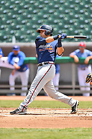 Mississippi Braves catcher Alex Jackson (25) swings at a pitch during a game against the Tennessee Smokies at Smokies Stadium on May 20, 2018 in Kodak, Tennessee. The Braves defeated the Smokies 7-4. (Tony Farlow/Four Seam Images)