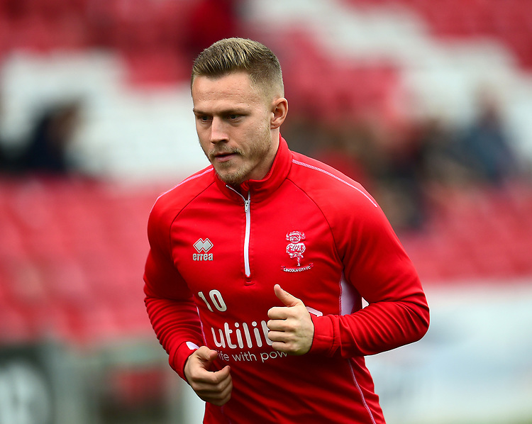 Lincoln City's Danny Rowe during the pre-match warm-up<br /> <br /> Photographer Andrew Vaughan/CameraSport<br /> <br /> The EFL Sky Bet League Two - Lincoln City v Macclesfield Town - Saturday 30th March 2019 - Sincil Bank - Lincoln<br /> <br /> World Copyright © 2019 CameraSport. All rights reserved. 43 Linden Ave. Countesthorpe. Leicester. England. LE8 5PG - Tel: +44 (0) 116 277 4147 - admin@camerasport.com - www.camerasport.com