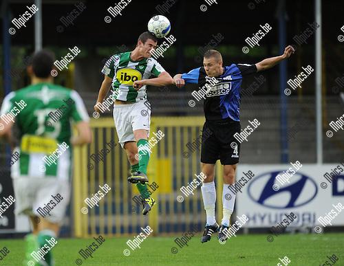 2011-08-17 / Voetbal / seizoen 2011-2012 / Rupel-Boom - Racing Mechelen / Spreutels (L, RCM) met Snoeys..Foto: mpics