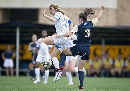 September 01, 2013:  UCLA midfielder Samantha Mewis (22) and Notre Dame midfielder Morgan Andrews (3) battle for the ball during NCAA Soccer match between the Notre Dame Fighting Irish and the UCLA Bruins at Alumni Stadium in South Bend, Indiana.  UCLA defeated Notre Dame 1-0.