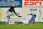 30 June 2012: Vermont Lake Monsters infielder Christopher Bostick steals second in the 5th inning as infielder Mookie Betts cannot get the out at second during a game against the Lowell Spinners at Centennial Field in Burlington, Vermont. Mandatory Credit: Ed Wolfstein Photo