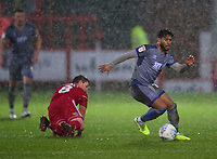 Lincoln City's Liam Bridcutt gets away from Accrington Stanley's Sam Finley<br /> <br /> Photographer Andrew Vaughan/CameraSport<br /> <br /> The EFL Sky Bet League One - Accrington Stanley v Lincoln City - Saturday 15th February 2020 - Crown Ground - Accrington<br /> <br /> World Copyright © 2020 CameraSport. All rights reserved. 43 Linden Ave. Countesthorpe. Leicester. England. LE8 5PG - Tel: +44 (0) 116 277 4147 - admin@camerasport.com - www.camerasport.com