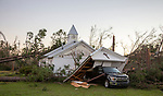 BLOUNTSTOWN, FL - OCTOBER 13: The First Presbyterian Church was damaged by Hurricane Michael on October 13, 2018 in Blountstown, Florida. (Photo by Mark Wallheiser/Getty Images)