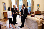 Washington, DC - June 10, 2009 -- United States President Barack Obama speaks with Director of the Office of Health Reform Nancy Ann De Parle, Assistant to the President for Legislative Affairs, Phil Schiliro, and White House Chief of Staff Rahm Emanuel during a morning meeting in the Oval Office, June 10, 2009..Mandatory Credit: Pete Souza - White House via CNP