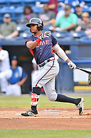 Rome Braves center fielder Cristian Pache (25) swings at a pitch during a game against the Asheville Tourists at McCormick Field on June 12, 2017 in Asheville, North Carolina. The Tourists defeated the Braves 7-0. (Tony Farlow/Four Seam Images)