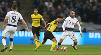 Tottenham Hotspur's Lucas Moura and Mahmoud Dahoud of Borussia Dortmund<br /> <br /> Photographer Rob Newell/CameraSport<br /> <br /> UEFA Champions League Round of 16 First Leg - Tottenham Hotspur v Borussia Dortmund - Wednesday 13th February 2019 - Wembley Stadium - London<br />  <br /> World Copyright © 2018 CameraSport. All rights reserved. 43 Linden Ave. Countesthorpe. Leicester. England. LE8 5PG - Tel: +44 (0) 116 277 4147 - admin@camerasport.com - www.camerasport.com