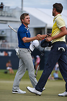 Austin Cook (USA) shakes hands with Scott Harrington (USA)  following round 4 of the 2019 Houston Open, Golf Club of Houston, Houston, Texas, USA. 10/13/2019.<br /> Picture Ken Murray / Golffile.ie<br /> <br /> All photo usage must carry mandatory copyright credit (© Golffile | Ken Murray)