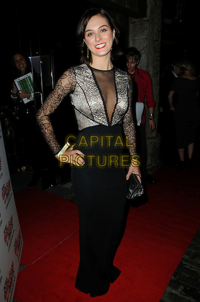 LOUI BATLEY .Attending the Inside Soap Awards 2010 held at Shaka Zulu, Camden, London, England, UK, September 27th 2010 arrivals full length black lace sheer see thru through mesh dress long sleeve hand on hip cleavage long maxi .CAP/CAS.©Bob Cass/Capital Pictures.