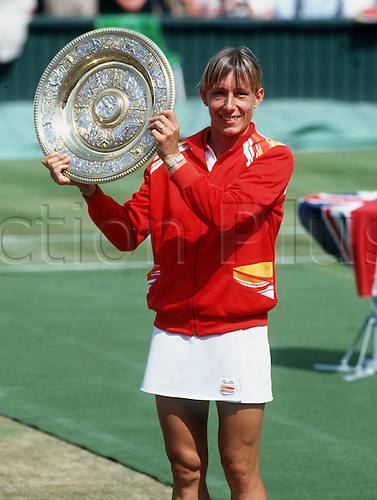 05.07.1985 Wimbledon, England. Martina Navratilova with the winners trophy having defeated Chris Evert in the Final 4-6, 6-3, 6-2.