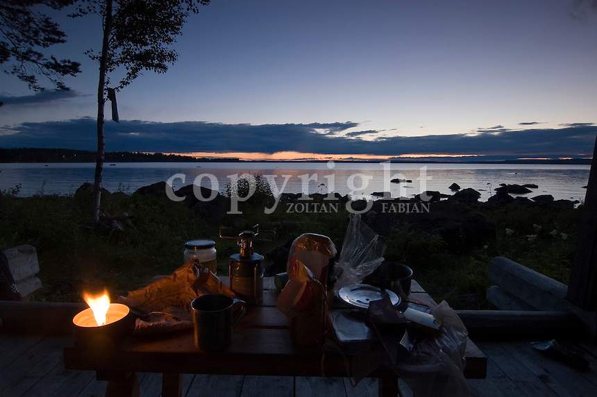 Supper in the nature at Lake Siljan, Sweden, Europe